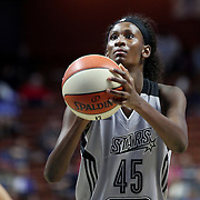 UNCASVILLE, CONNECTICUT- MAY 05:  Astou Ndour #45 of the San Antonio Stars in action during the San Antonio Stars Vs Connecticut Sun preseason WNBA game at Mohegan Sun Arena on May 05, 2016 in Uncasville, Connecticut. (Photo by Tim Clayton/Corbis via Getty Images)