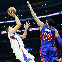 07 November 2016: Los Angeles Clippers forward Blake Griffin (32) takes a jump shot over Detroit Pistons forward Tobias Harris (34) during the LA Clippers 114-82 victory over the Detroit Pistons, at the Staples Center, Los Angeles, California, USA.