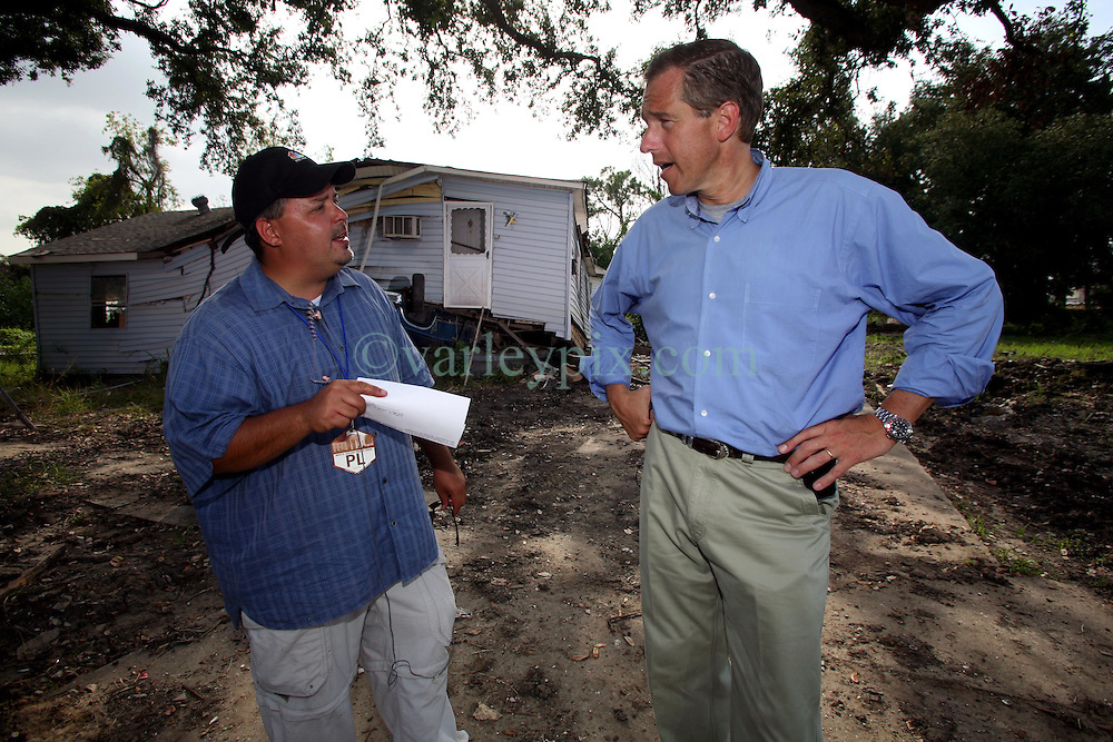 29 August 2006. New Orleans, Louisiana. Lower 9th ward.  <br /> The one year anniversary of hurricane Katrina. Brian Williams, NBC news anchor of the 'Nightly News' preps for his 5.00pm live slot from the flood ravaged area. (6.00pm east coast). Williams has been a staunch supporter of New Orleans and has been a great vocal critic of the slow pace of reform and has heavily criticised both federal and local government ineptitude. Many New Orleanians support Williams and his continued efforts to highlight the vast array of problems still facing the community and applaud him for his efforts to maintain the city as a 'newsworthy' story. <br /> Photo Credit©; Charlie Varley/varleypix.com