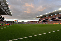Evening view of Croke Park with the lights on.<br />
