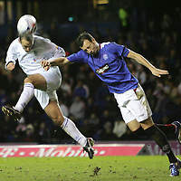 Rangers v St Johnstone....08.11.06   CIS Cup Quarter Final<br />Paul Sheerin gets a header in on goal despite Alan Huttons attentions.<br />Picture by Graeme Hart.<br />Copyright Perthshire Picture Agency<br />Tel: 01738 623350  Mobile: 07990 594431