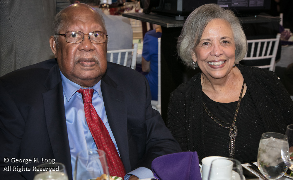 Ernest Gaines and wife, Dianne Saulney at the Louisiana Endowment for the Humanities Bright Lights Awards Dinner at Popp Fountain in City Park of New Orleans on May 10, 2018