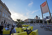 "Vienna. MuseumsQuartier (MQ Vienna) is celebrating its 10th year..People relaxing on ""Enzos"" next to the MQ entrance."