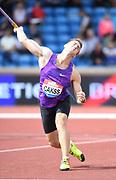 Gatis Cakks (LAT) place sixth in the javelin at) 265-7 (80.96m) during the Grand Prix Birmingham in an IAAF Diamond League meet in Birmingham, United Kingdom, Saturday, Aug. 18, 2018. (Jiro Mochizuki/mage of Sport)