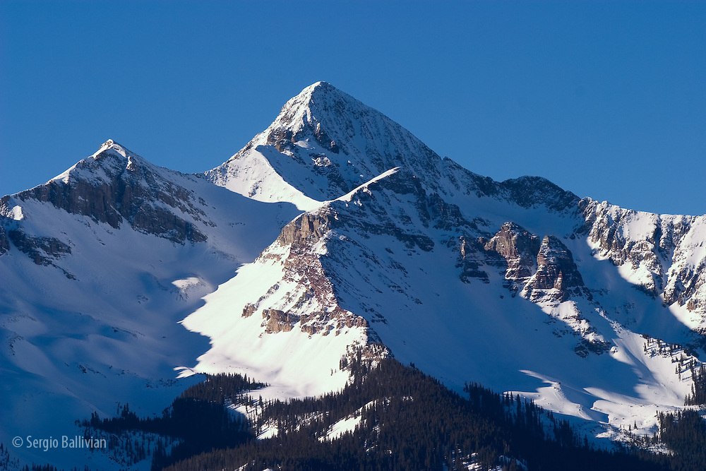 Snowfall on the San Juan Mountain range in the Rocky Mountains near Telluride, Colorado