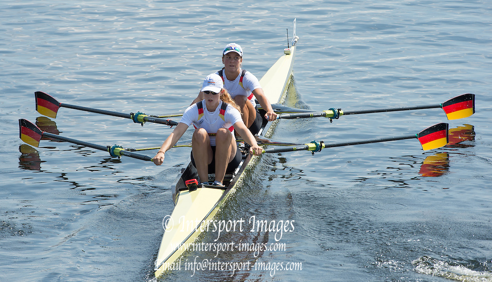 Hamburg. GERMANY.  GER JW2X. Tina CHRISTMANN and Franziska KAMPMANN. start.  Friday, Morning Quarter Finals at the 2014 FISA Junior World rowing. Championships.  12:14:45  Friday  08/08/2014  [Mandatory Credit; Peter Spurrier/Intersport-images] 2014. Empacher. Hamburg.