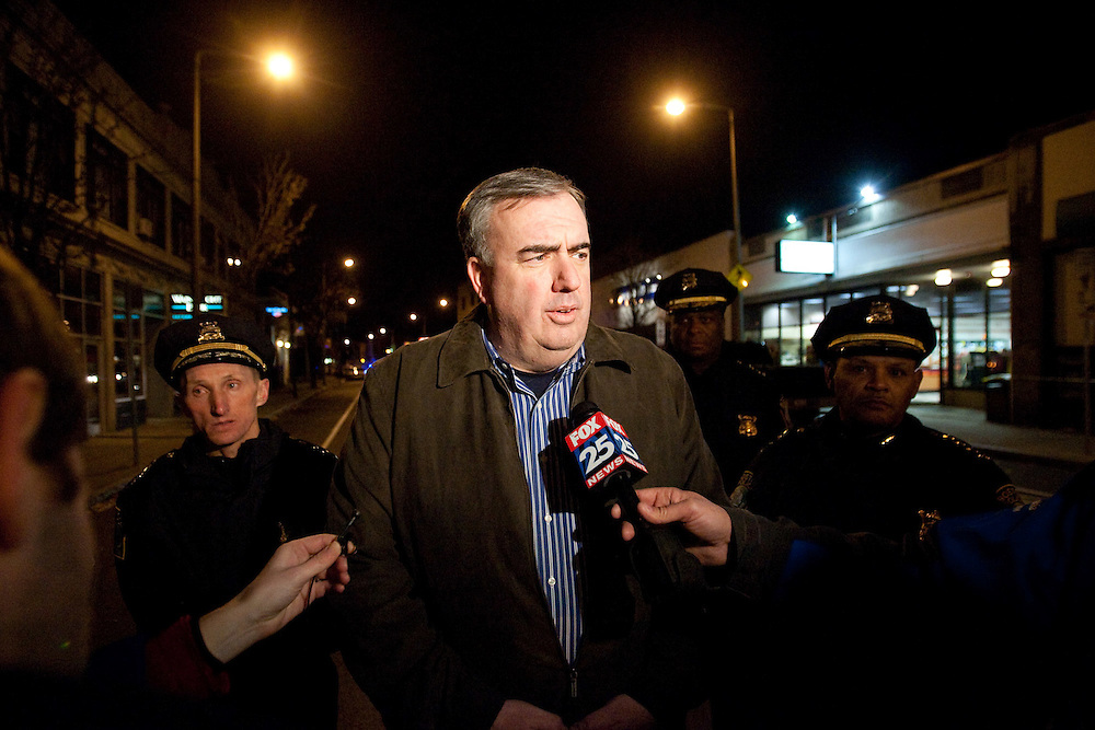 Boston, MA 11/21/2010.Boston Police Commissioner Edward Davis addresses the media after a shooting inside the Same Old Place restaurant in Jamaica Plain on Sunday evening..Alex Jones / www.alexjonesphoto.com