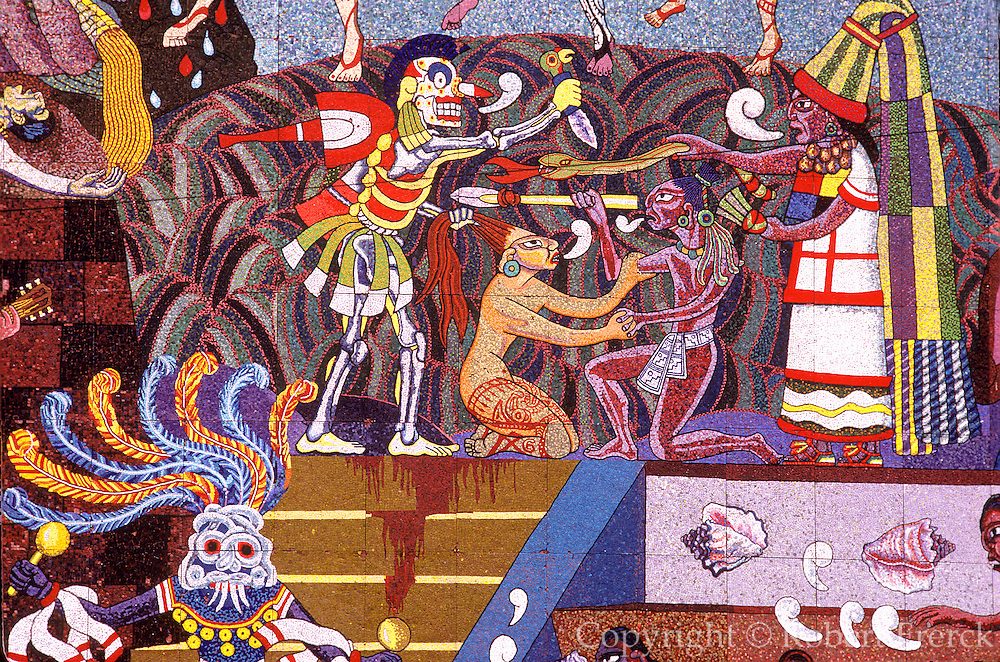 MEXICO, MEXICO CITY, MURALS Diego Rivera mural on the facade of the Insurgentes Theater, 1953, with detail of Aztec figures and dancers
