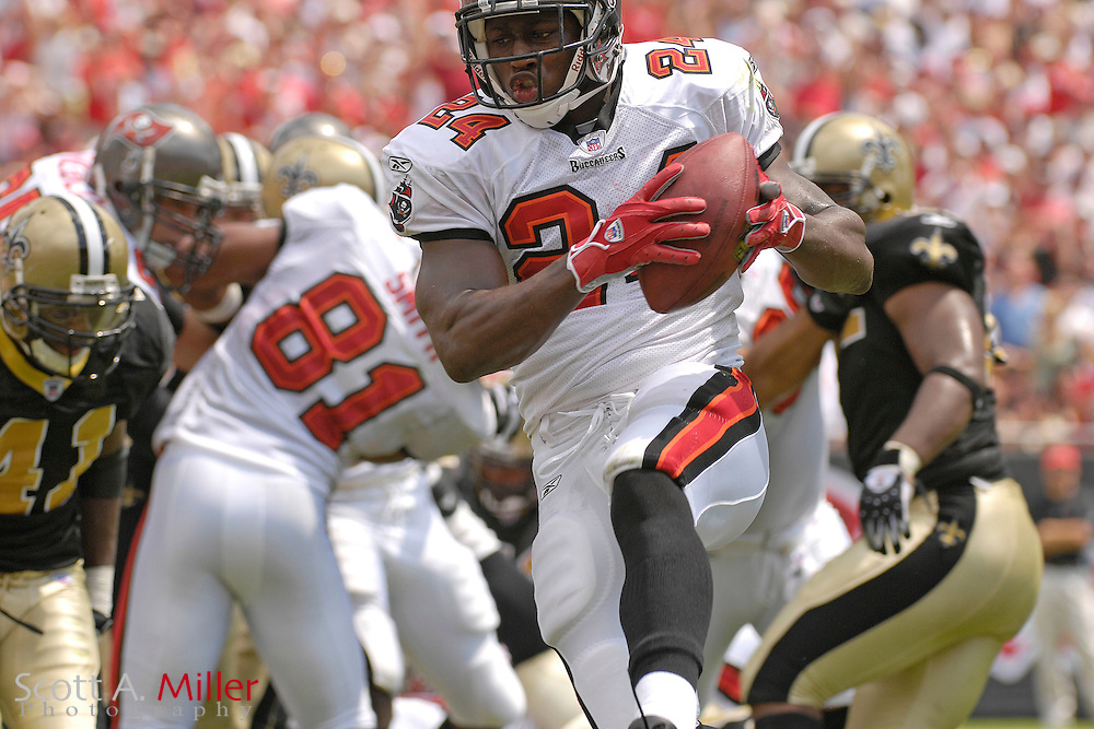 """September 16, 2007; Tampa, FL, USA; Tampa Bay Buccaneers running back (24) Carnell """" Cadillac """" Williams during his team's game against the New Orleans Saints  at Raymond James Stadium. Tampa Bay won the game 31-14....©2007 Scott A. Miller"""