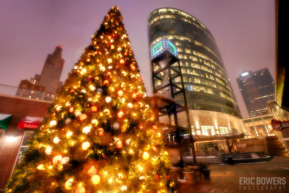 Christmas Tree at Kansas City's Power and Light District with H&R Block headquarters behind.