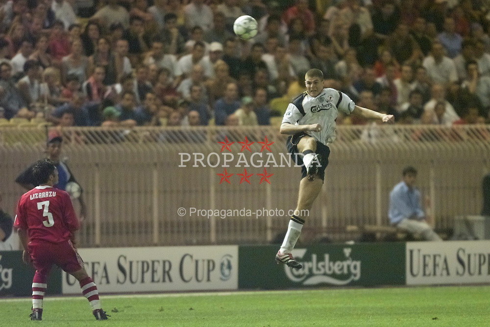 MONACO, FRANCE - Friday, August 24, 2001: Liverpool's Steven Gerrard in action against Bayern Munich during the UEFA Super Cup Final at the Stade Louis II. (Pic by David Rawcliffe/Propaganda)