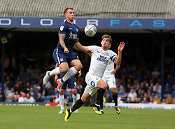 Alex Woodyard of Peterborough United in action with Simon Cox of Southend United - Mandatory by-line: Joe Dent/JMP - 08/09/2018 - FOOTBALL - Roots Hall - Southend-on-Sea, England - Southend United v Peterborough United - Sky Bet League One