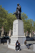 The statue of General Charles James Napier, on 1st May, in Trafalgar Square, London, England. Sir Charles James Napier, (1782 - 1853), was an officer and veteran of the British Army's Peninsula, and 1812 campaigns, and later a Major General of the Bombay Army, during which period he led the military conquest of Sindh, before serving as the Governor of Sindh, and Commander-in-Chief in India.
