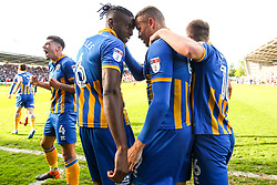 Carlton Morris of Shrewsbury Town celebrates with teammates after scoring a goal to make it 1-0 - Mandatory by-line: Robbie Stephenson/JMP - 13/05/2018 - FOOTBALL - Montgomery Waters Meadow - Shrewsbury, England - Shrewsbury Town v Charlton Athletic - Sky Bet League One Play-Off Semi Final