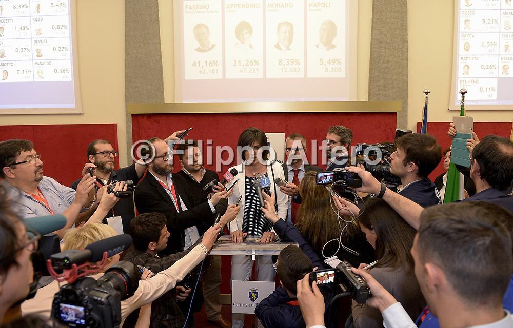 &copy; Filippo Alfero<br /> Conferenza stampa post voto di Chiara Appendino in attesa dei risultati delle elezioni amministrative 2016<br /> Torino, Municipio, 06/06/2016<br /> Nella foto: