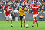 Joao Moutinho (28) of Wolverhampton Wanderers on the attack during the The FA Cup 5th round match between Bristol City and Wolverhampton Wanderers at Ashton Gate, Bristol, England on 17 February 2019.