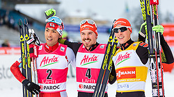 21.02.2016, Salpausselkae Stadion, Lahti, FIN, FIS Weltcup Nordische Kombination, Lahti, Langlauf, im Bild v.l.: Akito Watabe (JPN, 3. Platz), Sieger Fabian Riessle (GER), Eric Frenzel (GER, 2. Platz) // 3rd placed Akito Watabe of Japan, Winner Fabian Riessle of Germany, 2nd placed Eric Frenzel of Germany celebrate during Cross Country Gundersen Race of FIS Nordic Combined World Cup, Lahti Ski Games at the Salpausselkae Stadium in Lahti, Finland on 2016/02/21. EXPA Pictures © 2016, PhotoCredit: EXPA/ JFK