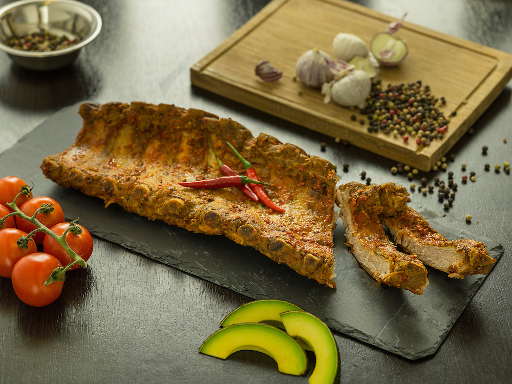 Ribs a la Mexicaine. La Boucherie meat products catalog on 25 May 2016 in Hong Kong, China. Photo by Lucas Schifres / Illume Visuals