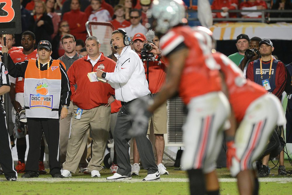 January 3, 2014: Head coach Urban Meyer of Ohio State in action during the NCAA football game between the Clemson Tigers and the Ohio State Buckeyes at the 2014 Orange Bowl in Miami Gardens, Florida.  The Tigers defeated the Buckeyes 40-35.