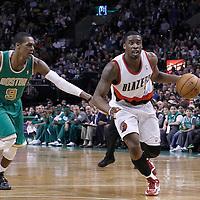 09 March 2012:  Portland Trailblazers guard Wesley Matthews (2) drives past Boston Celtics point guard Rajon Rondo (9) during the Boston Celtics 104-86 victory over the Portland Trail Blazers at the TD Banknorth Garden, Boston, Massachusetts, USA.