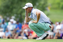 August 12, 2018 - St. Louis, MO, U.S. - ST. LOUIS, MO - AUGUST 12:  Justin Thomas (USA) lines up a putt on the third green during the PGA Championship August 12, 2018, at Bellerive Country Club in St. Louis, MO.  (Photo by Tim Spyers/Icon Sportswire) (Credit Image: © Tim Spyers/Icon SMI via ZUMA Press)