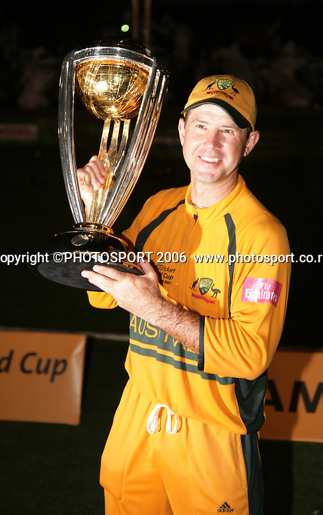 The Australian captain Ricky Ponting holds the World Cup aloft at the conclusion of the 2007 ICC Cricket World Cup Final between Australia and Sri Lanka at Kensington Oval, Barbados, West Indies on Saturday 28 April 2007. Australia won the toss and elected to bat first and won the match by 53 runs. Photo: Andrew Cornaga/PHOTOSPORT<br />