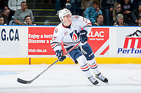 KELOWNA, CANADA - SEPTEMBER 24: Nolan Kneen #27 of the Kamloops Blazers skates against the Kelowna Rockets on September 24, 2016 at Prospera Place in Kelowna, British Columbia, Canada.  (Photo by Marissa Baecker/Shoot the Breeze)  *** Local Caption *** Nolan Kneen;