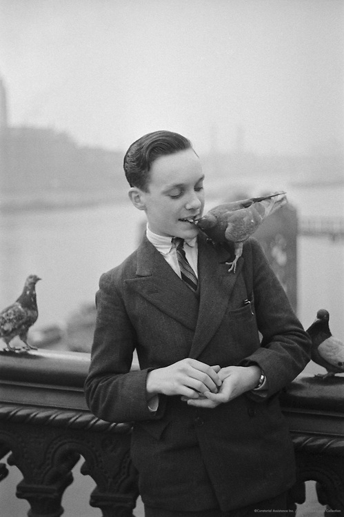 Visitor at Trafalgar Square with Pigeons, London, 1935