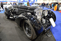 © Licensed to London News Pictures. 18/02/2016. A 1936 Bentley 4 1/4 Litre Count Trossi style Roadster car on display at the launch of the London Classic Car Show.  The four day event brings together classic car owner, dealers, collectors, experts and enthusiasts. London, UK. Photo credit: Ray Tang/LNP
