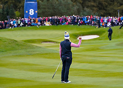 Auchterarder, Scotland, UK. 14 September 2019. Saturday afternoon Fourballs matches  at 2019 Solheim Cup on Centenary Course at Gleneagles. Pictured; Suzann Pettersen of Team Europe reacts after hitting excellent approach to the 8th green.Iain Masterton/Alamy Live News