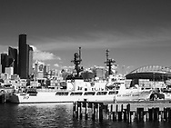 Coast Guard ship in Seattle harbor in black and white