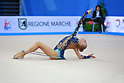 Tikkanen Jouki during qualifying at hoop in Pesaro World Cup 10 April 2015. Jouki was born July 05, 1995. She is a Finnish individual rhythmic gymnast.