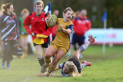 Becki Belcher of Bristol Ladies breaks away from a challenge - Mandatory by-line: Dougie Allward/JMP - 11/12/2016 - RUGBY - Cleve RFC - Bristol, England - Bristol Ladies v Darlington Mowden Park Ladies - RFU Women's Premiership