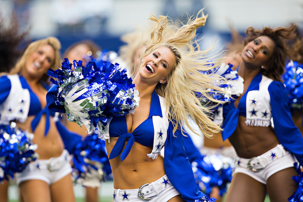 ARLINGTON, TX - NOVEMBER 2:  Cheerleaders of the Dallas Cowboys perform before a game against the Arizona Cardinals at AT&T Stadium on November 2, 2014 in Arlington, Texas.  The Cardinals defeated the Cowboys 28-17.  (Photo by Wesley Hitt/Getty Images) *** Local Caption ***