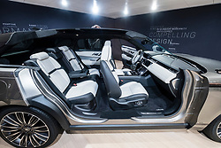 Cut away model of new Land Rover Velar luxury SUV on launch day at Geneva International Motor Show 2017