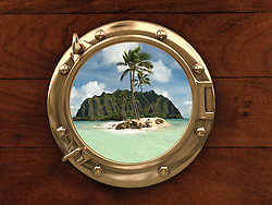 Porthole inside a ship with a view of a deserted island