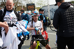 Abby-Mae Parkinson (GBR) catches her breath after Gent Wevelgem - Elite Women 2019, a 136.9 km road race from Ieper to Wevelgem, Belgium on March 31, 2019. Photo by Sean Robinson/velofocus.com