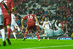 LIVERPOOL, ENGLAND - Wednesday, September 22, 2010: Northampton Town's Michael Jacobs scores his side's second goal against Liverpool during extra-time during the Football League Cup 3rd Round match at Anfield. (Photo by David Rawcliffe/Propaganda)