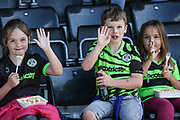 Young FGR supporters during the EFL Sky Bet League 2 match between Forest Green Rovers and Grimsby Town FC at the New Lawn, Forest Green, United Kingdom on 17 August 2019.