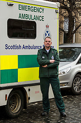 """Pictured: John Alexander from Scottish Ambulance Service <br /> The """"In Town, Slow Down""""  road safety campaign was launched today in Edinburgh to encourage drivers to watch their speed in built-up areas, amid figures showing someone is stopped for speeding in Scotland every nine minutes. Superintendent Fraser Candlish from Police Scotland, and John Alexander from Scottish Ambulance Service were on hand to help with the launch<br /> Ger Harley 