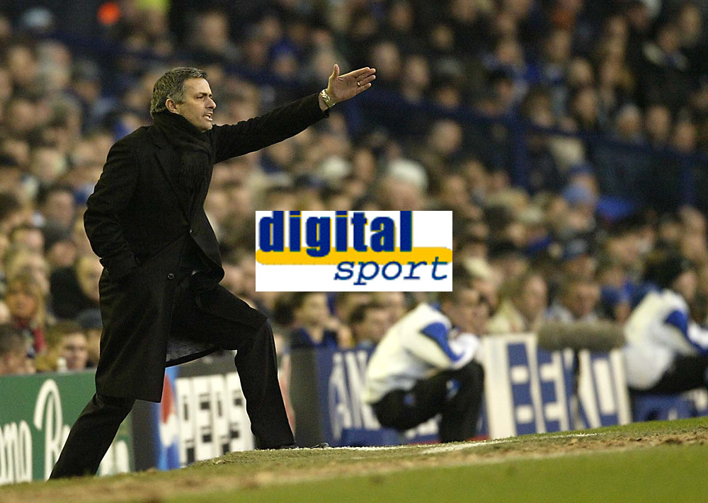 Photo: Aidan Ellis.<br /> Everton v Chelsea. The FA Cup. 28/01/2006.<br /> Chelsea boss Jose Mourinho