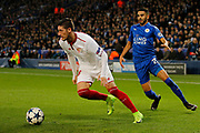 Sevilla defender Sergio Escudero (18) and Leicester City Midfielder Riyad Mahrez during the Champions League round of 16, game 2 match between Leicester City and Sevilla at the King Power Stadium, Leicester, England on 14 March 2017. Photo by Richard Holmes.