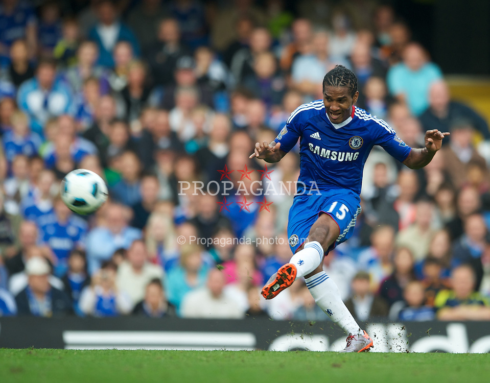 LONDON, ENGLAND - Saturday, August 14, 2010: Chelsea's Florent Malouda shoots at goal during the Premiership match against West Bromwich Albion at Stamford Bridge. (Pic by: Chris Brunskill/Propaganda)
