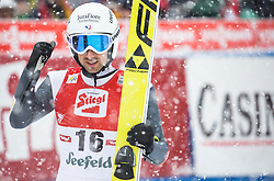 31.01.2016, Casino Arena, Seefeld, AUT, FIS Weltcup Nordische Kombination, Seefeld Triple, Skisprung, Wertungssprung, im Bild Tim Hug (SUI) // Tim Hug of Switzerland reacts after his Competition Jump of Skijumping of the FIS Nordic Combined World Cup Seefeld Triple at the Casino Arena in Seefeld, Austria on 2016/01/31. EXPA Pictures © 2016, PhotoCredit: EXPA/ Jakob Gruber