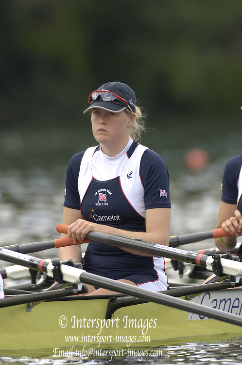 2005 FISA World Cup, Rotsee, Lucerne, SWITZERLAND, 08.07.2005 GBR W4X Frances Houghton,  at the start in their opening heat of thewomen's quadruple sculls on the opening day of the final round of the 2005 FISA Rowing World Cup..© Peter Spurrier.  email images@intersport-images..[Mandatory Credit Peter Spurrier/ Intersport Images] Rowing Course, Lake Rottsee, Lucerne, SWITZERLAND.