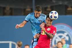 August 22, 2018 - Bronx, New York, United States - New York Red Bulls midfielder ALEJANDRO ROMERO GAMARRA (10) heads the ball away from New York City defender BEN SWEAT (2) during a regular season match at Yankee Stadium in Bronx, NY.  New York City FC tie the New York Red Bulls 1 to 1 (Credit Image: © Mark Smith via ZUMA Wire)