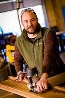 Jared Kauffman a Furniture Designer and Craftsman in Mtn. Home Arkansas.Shot for Arkansas Life Magazine