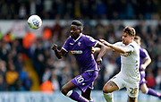 Bolton Wanderers forward Sammy Ameobi and Leeds United defender Gaetano Berardi during the EFL Sky Bet Championship match between Leeds United and Bolton Wanderers at Elland Road, Leeds, England on 30 March 2018. Picture by Paul Thompson.