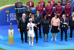 USA's Megan Rapinoe receives the The Golden Ball from FIFA President Gianni Infantino and French President Emmanuel Macron