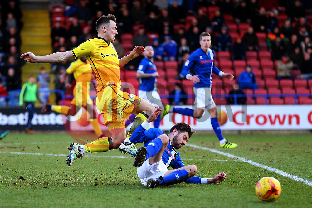 Joe Rafferty of Rochdale tackles Ollie Clarke of Bristol Rovers - Mandatory by-line: Matt McNulty/JMP - 04/02/2017 - FOOTBALL - Crown Oil Arena - Rochdale, England - Rochdale v Bristol Rovers - Sky Bet League One